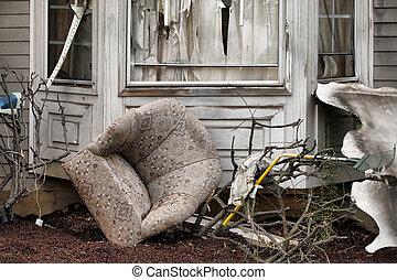 hus, beskadig, katastrofe