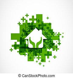 hus, beskytte, konstruktion, abstrakt