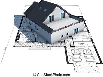 hus, blåkopior, modell, topp, arkitektur