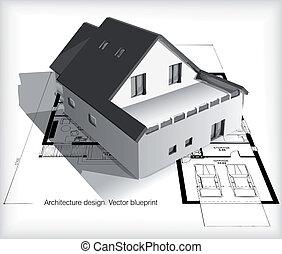 hus, blueprints, model, top, arkitektur