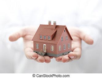 hus, brun, miniatyr, räcker