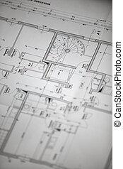 hus, close-up, planer