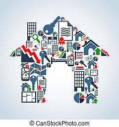 hus, din, egenskap, service, äga