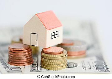 hus, egendom, priser, begreb, hos, penge, piller, af, mønter
