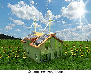 hus, energi, begrepp, besparing
