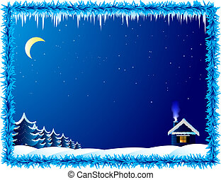 hus, enlige, frosty, nat