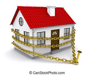 hus, enmeshed, en, gylden, kæde