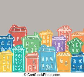 hus, färgad, doodles