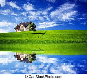 hus, färsk, gröna gärde