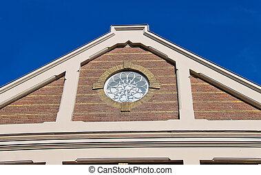 hus, fönster, in, den, form, av, a, ro