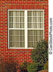 hus, fönster, tegelsten, röd