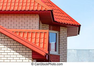 hus, fönster, tegelsten, tak