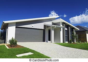 hus, förorts-, australier