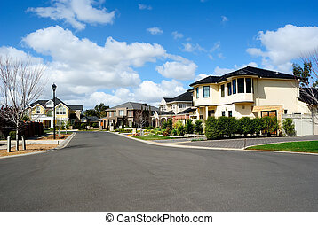hus, förorts-, nymodig, grannskap