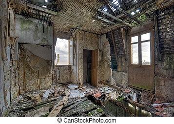 hus, förstörd