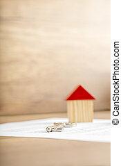 hus facit, trä, miniatyr, avtal, lögnaktig