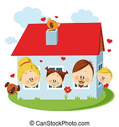 hus, familj