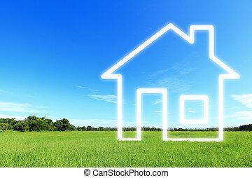 hus, fantasi, vision, färsk