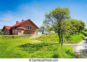 hus, fjäder, fält, färsk