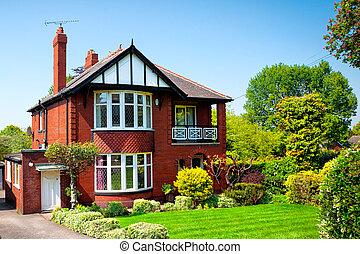 hus, fjäder, typisk, trädgård engelsk