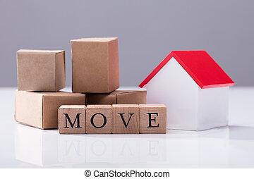 hus, flyttning, rutor, text, främre del, modell, papp