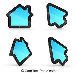 hus, form., inbillning, pad., hjälpmedel, vaddera, pil, toucha, concepts., mus, pekare