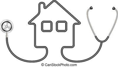 hus, form, stetoskop