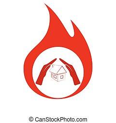 hus, forsikring, ikon