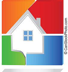 hus, fyrkant, logo, vektor