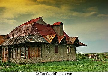 hus, gamle, forladt
