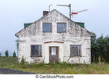 hus, gammal, -, övergiven, island