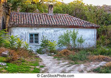 hus, gammal, kakelklätt tak