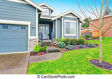 hus, garage, kindkedja, privat väg, yttre, appeal.
