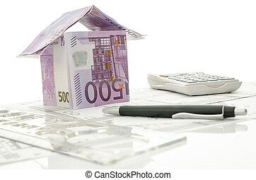 hus, gjord, pengar, arbete, skrivbord