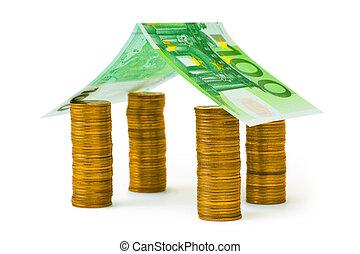 hus, gjord, pengar
