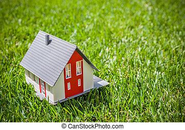 hus, gräs, grön