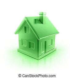 hus, grön, ikon