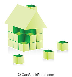 hus, grön