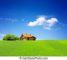hus, grønnes felt