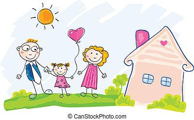 hus, gripande, familj, färsk