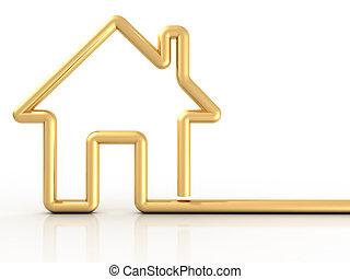 hus, guld