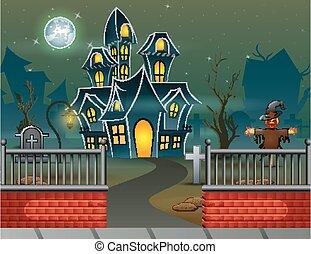 hus, halloween, bakgrund, natt
