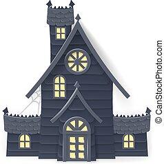 hus, halloween, besatt, stil, tecknad film, papercraft