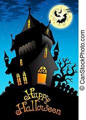 hus, halloween, lycklig, gammal, underteckna