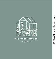 hus, hand, grön, hem, oavgjord, logo, ikon
