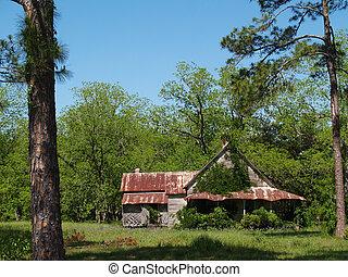 hus, historisk, övergiven, ridit ut