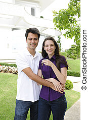 hus, homeowner:, par, uppköp, färsk