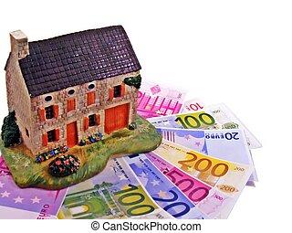 hus, hos, euro, penge, notere