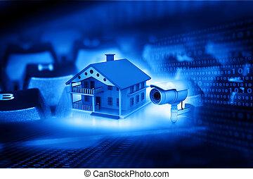 hus, hos, kamera security, hus, beskyttelse, cctv