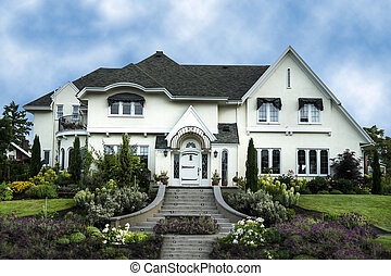 hus, hvid, luksus, exterior, stuk